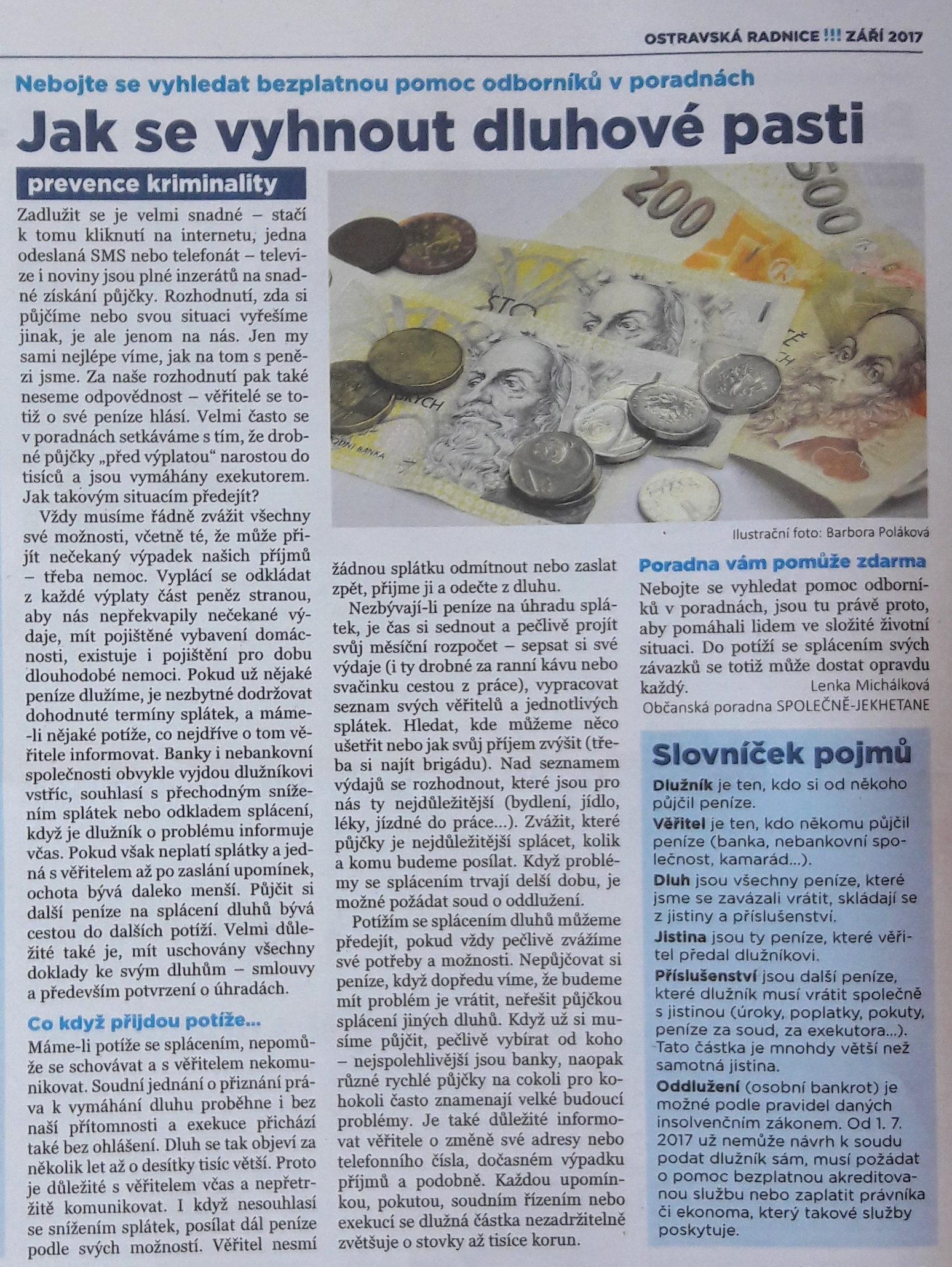 Článek Ostravská radnice - dluhy 9_2017